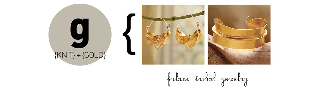 Gold-plated Fulani Tribal Earrings and Fulani Tribal Cuff