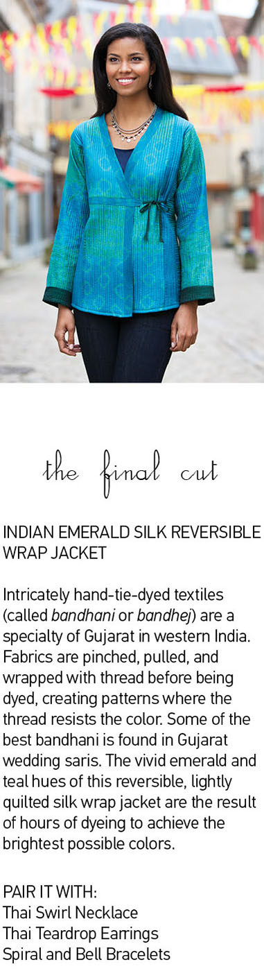 Indian Emerald Silk Reversible Wrap Jacket. Intricately hand-tie-dyed textiles (called bandhani or bandhej) are a specialty of Gujarat in western India. Fabrics are pinched, pulled, and wrapped with thread before being dyed, creating patterns where the thread resists the color. Some of the best bandhani is found in Gujarat wedding saris. The vivid emerald and teal hues of this reversible, lightly quilted silk wrap jacket are the result of hours of dyeing to achieve the brightest possible colors.