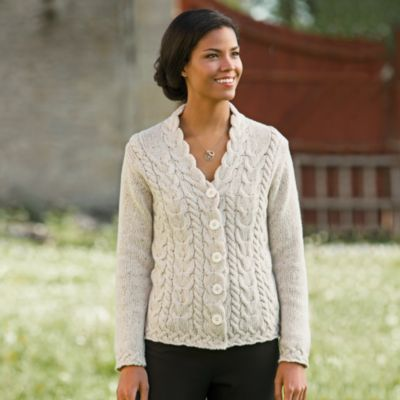 Irish Wool-cashmere Aran Cardigan