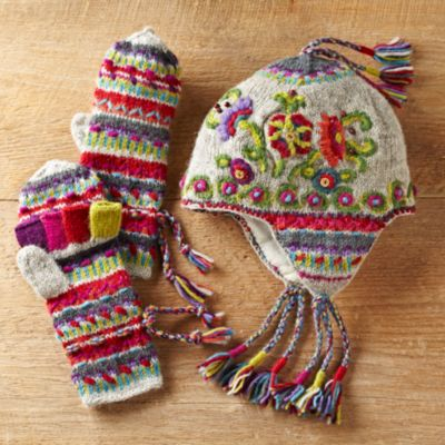 Kamala convertible mittens and earflap hat