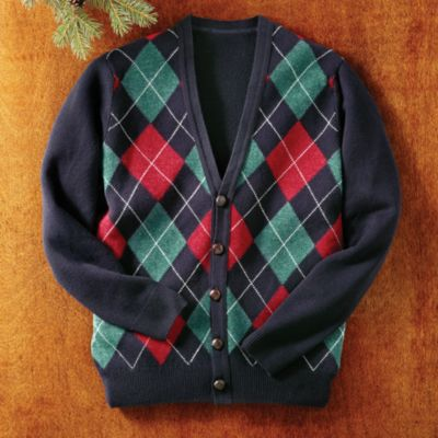 scottish lambs wool argyle vneck sweater