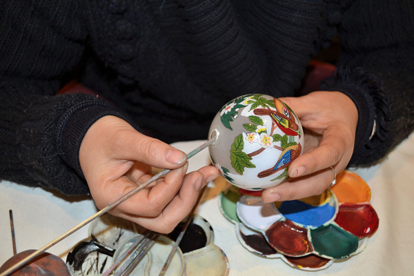 Reverse-painted Glass Love and Longevity Ornaments