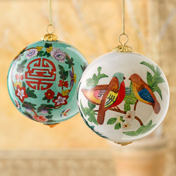 Reverse-painted Love and Longevity Glass Ornaments