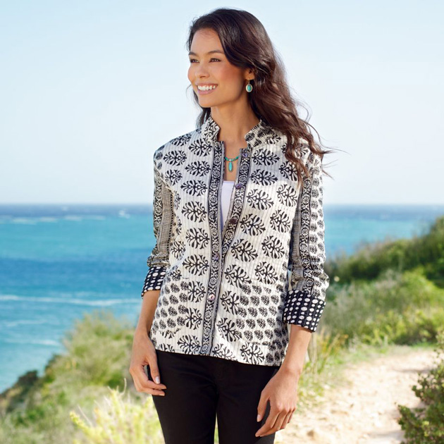 Black White Reversible Indian Jacket