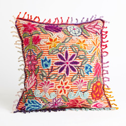 Peruvian Floral Striped Pillow